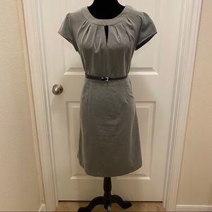 Grey Pencil Dress with Collar/Neck Detail